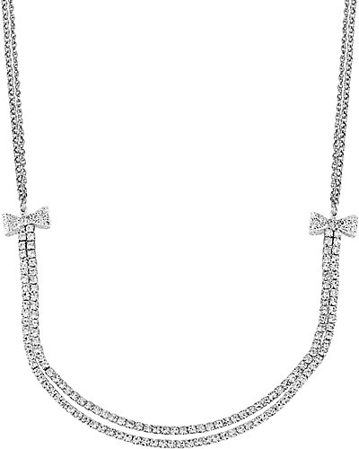 CRYSTAL BOW 2 ROW NECKLACE CRYSTAL