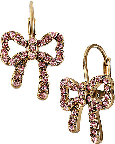 CRYSTAL BOW DROP EARRING FUSCHIA