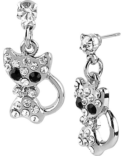 CRYSTAL CAT DROP EARRING CRYSTAL