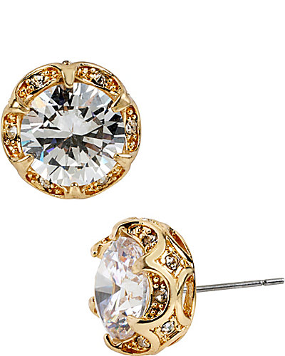 CRYSTAL CZ GOLD RUFFLED ROUND STUD EARRING GOLD