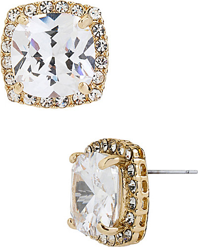 CRYSTAL CZ GOLD SQUARE STUD EARRING GOLD
