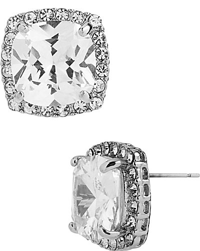 CRYSTAL CZ SILVER SQUARE STUD EARRING SILVER
