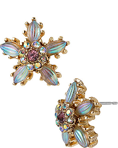 CRYSTAL FLOWER STUD EARRING GOLD