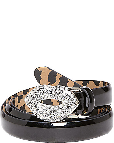 CRYSTAL LIPS SKINNY PATENT BELT BLACK