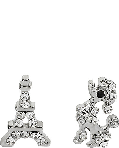 CRYSTAL MISMATCH POODLE EARRING CRYSTAL