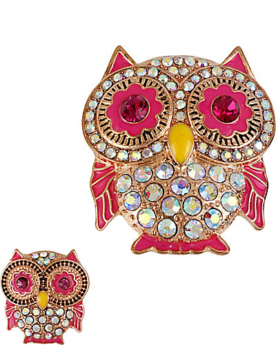 CRYSTAL OWL PIN SET PINK