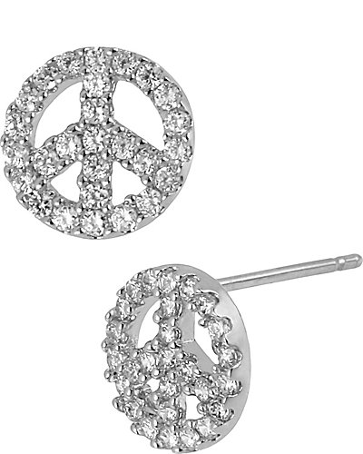 CRYSTAL PEACE SIGN EARRING CRYSTAL