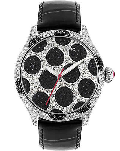 CRYSTAL POLKA DOT WATCH BLACK