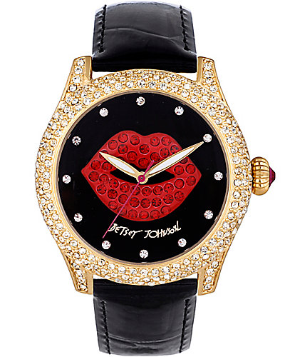 CRYSTAL RED LIPS WATCH BLACK