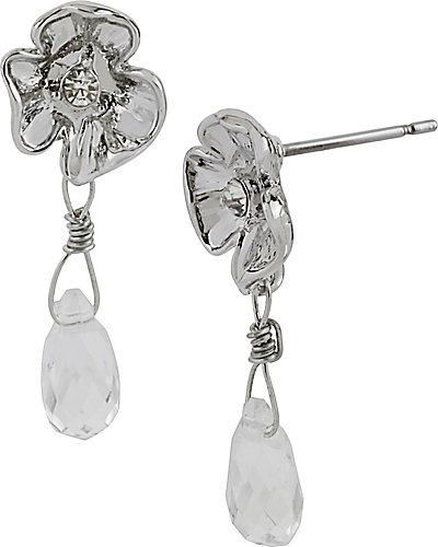 CRYSTAL RHODIUM FLOWER DROP EARRING CRYSTAL