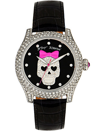 CRYSTAL SKULL DIAL WATCH BLACK