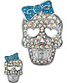 CRYSTAL SKULL PIN SET BLUE