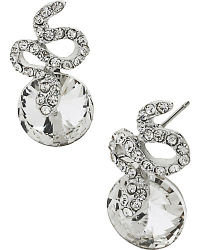 CRYSTAL SNAKE CIRCLE EARRING CRYSTAL