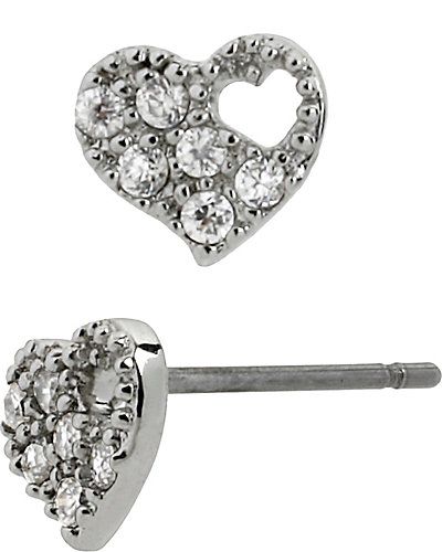 CZ HOLLOW HEART STUD CRYSTAL