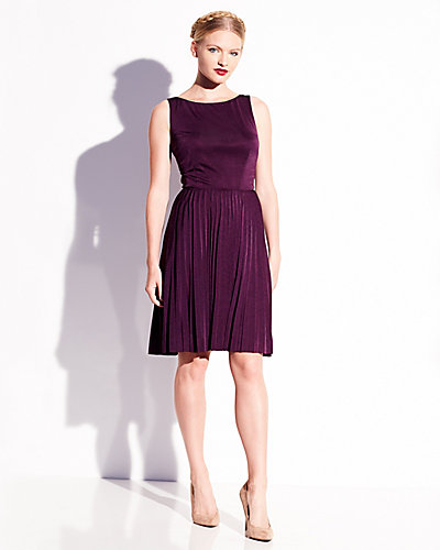 DEEP BACK-V DRESS WITH ZIPPER DETAIL PURPLE