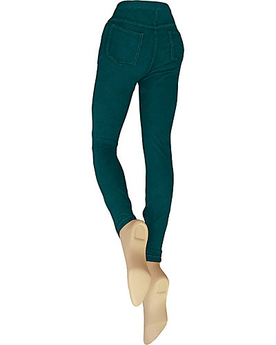 DENIM CUT AND SEW LEGGING TEAL