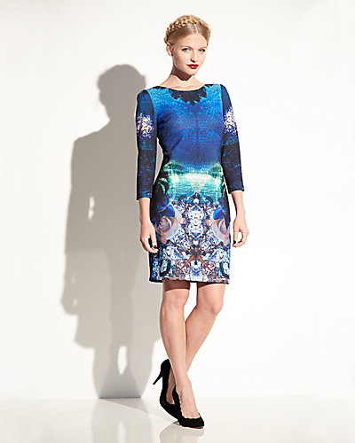 DIGITAL PRINT LONG SLEEVE DRESS MULTI
