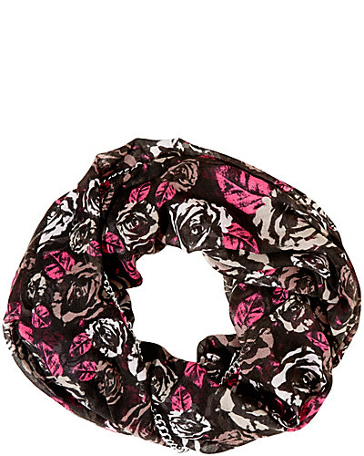 DIGITAL ROSE CHAIN EDGE INFINITY SCARF PINK