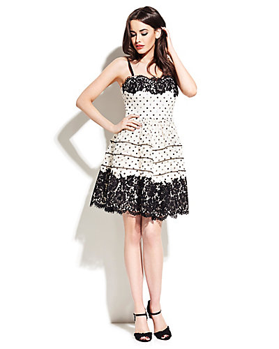 DOT AND LACE STRAPLESS PARTY DRESS CREAM FABRIC