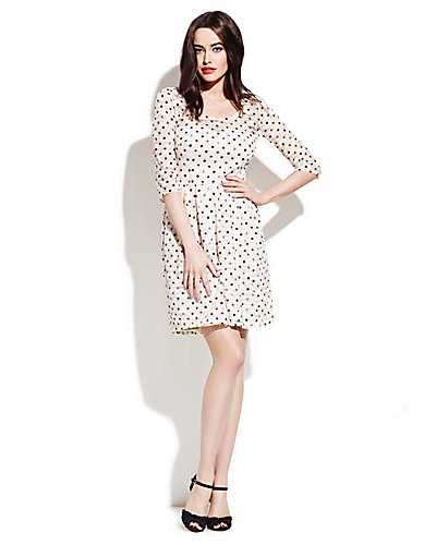 DOTTED ELBOW SLEEVE DRESS CREAM FABRIC