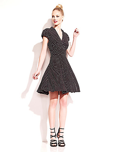 DOTTED FAUX WRAP DRESS BLACK WHITE