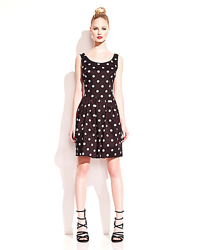 DOUBLE BOW DOT DRESS BLACK WHITE