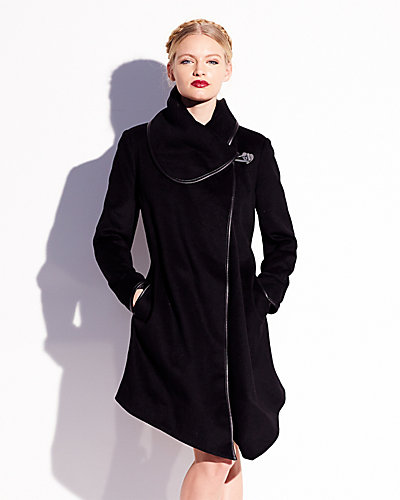 DRAPE MELTON CAPE BLACK