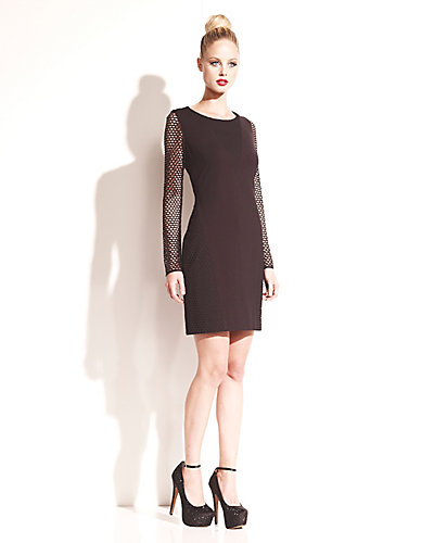 DRESS WITH MESH INSETS AND SLEEVES BLACK