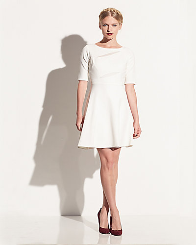 ELBOW SLEEVE DRESS WITH CUTOUTS CREAM