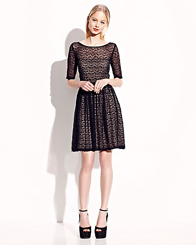 ELBOW SLEEVE LACE OVERLAY DRESS BLACK