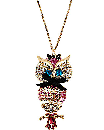 ENCHANTED OWL LONG PENDANT PINK
