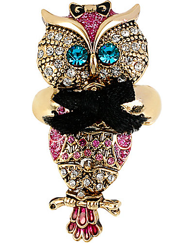 ENCHANTED OWL STRETCH RING PINK