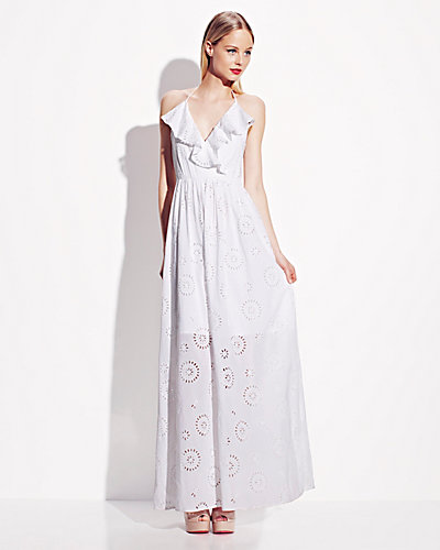 EYELET HALTER MAXI DRESS WHITE