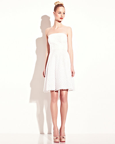 EYELET STRAPLESS DRESS WHITE