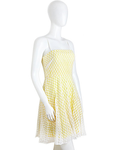 EYELET STRAPLESS DRESS YELLOW