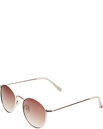 FABRIC WRAP ROUND SUNGLASSES WHITE