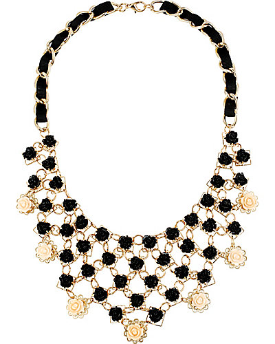 FABULOUS FLOWERS BIB NECKLACE BLACK