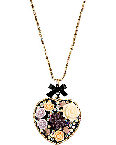 FABULOUS FLOWERS HEART PENDANT MULTI