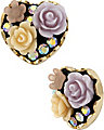 FABULOUS FLOWERS HEART STUD EARRING PURPLE
