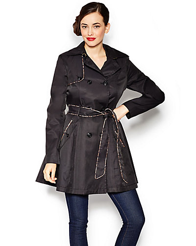 FALL COTTON KISS TRENCH COAT WITH PIPING BLACK