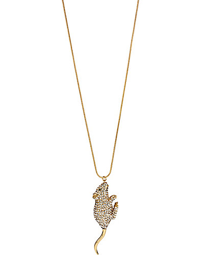 FASHION SHOW MOUSE PENDANT NECKLACE CRYSTAL