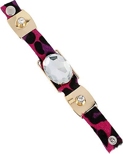 FASHION SHOW OVAL PINK LEOPARD SNAP BRACLET PINK