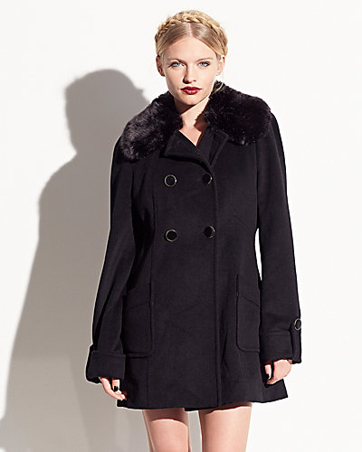 FAUX FUR COLLAR DRAPE MELTON COAT BLACK