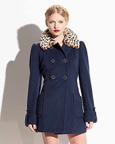 FAUX FUR COLLAR DRAPE MELTON COAT TEAL
