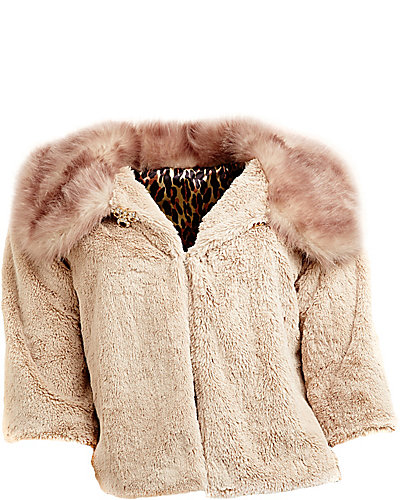 FAUX FUR SO SOFT BELL SLEEVE JACKET TAUPE