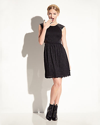FAUX LEATHER AND LACE DRESS BLACK