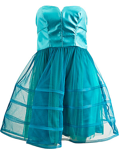 FAUX LEATHER BODICE PARTY DRESS TEAL