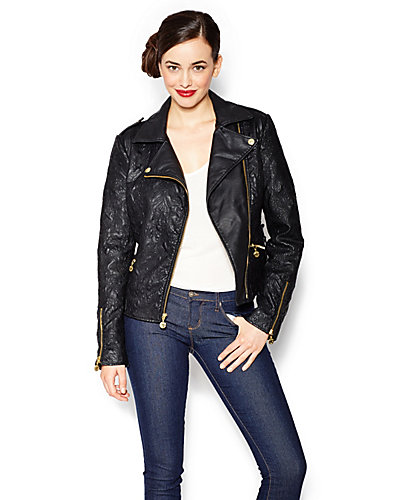 FAUX LEATHER EMBROIDERED JACKET BLACK