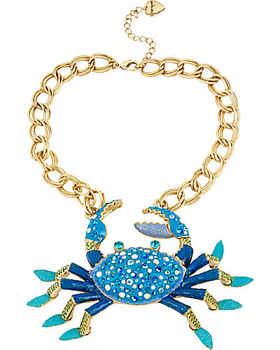 FEELING CRABBY CRAB FRONTAL NECKLACE BLUE