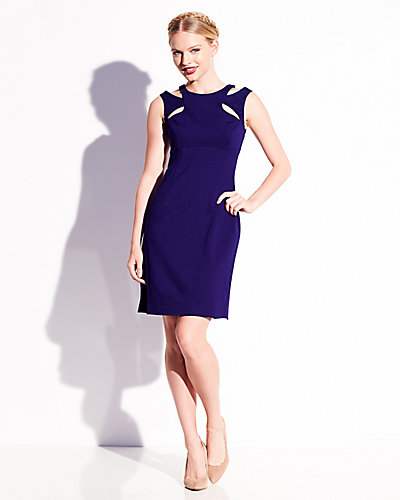 FITTED DRESS WITH CUTOUTS NAVY